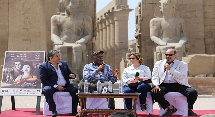 Danny Glover in front of the Luxor Temple   Egyptian antiquities inspires my imagination and help the creativity